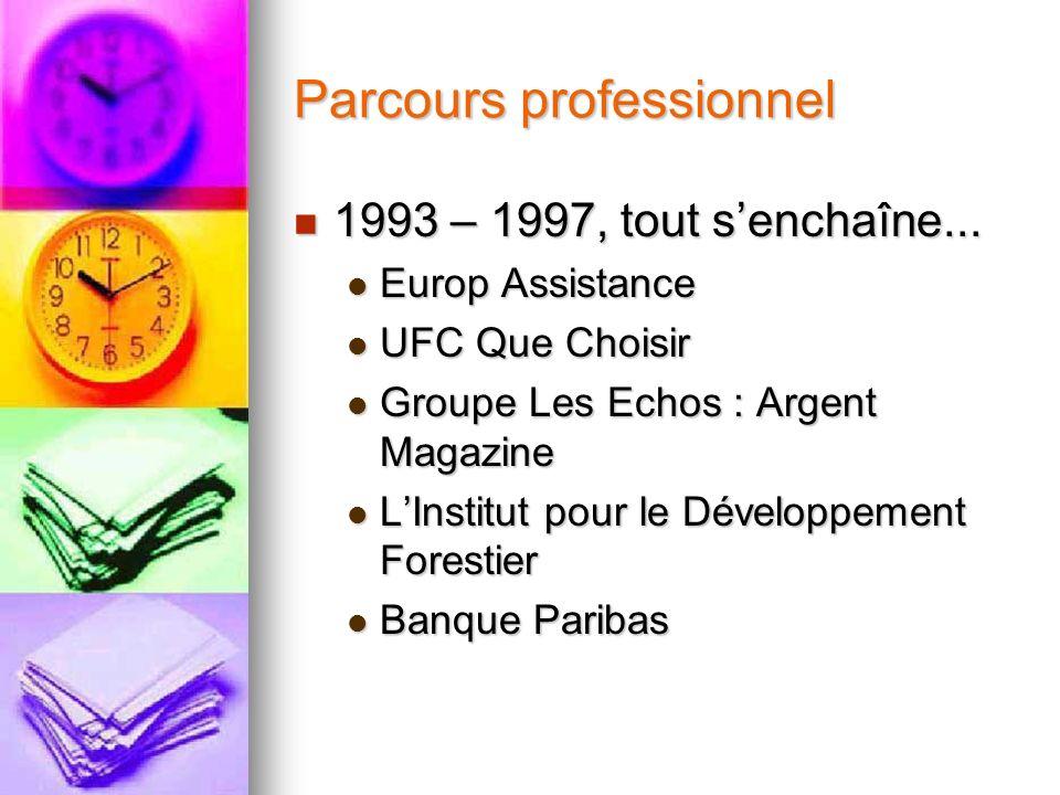 Parcours professionnel 1993 – 1997, tout senchaîne... 1993 – 1997, tout senchaîne... Europ Assistance Europ Assistance UFC Que Choisir UFC Que Choisir