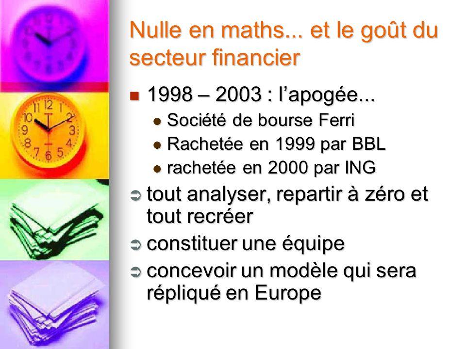 Nulle en maths... et le goût du secteur financier 1998 – 2003 : lapogée... 1998 – 2003 : lapogée... Société de bourse Ferri Société de bourse Ferri Ra