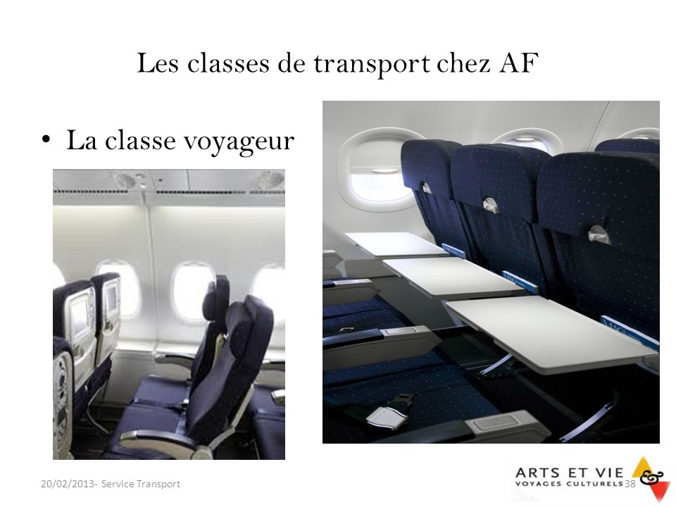 Les classes de transport chez AF La classe voyageur 20/02/2013- Service Transport38