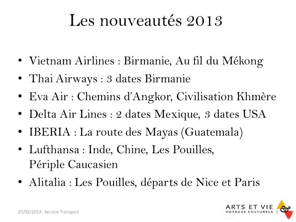 Les codes share Une compagnie partenaire opère la liaison sous numéro de vol Air France pour les groupes : – Air Europa (UX) : Malaga – Austrian Airlines (OS) : Vienne – Finnair (AY) : Helsinki – Vietnam Airlines (VN) : Hanoï 20/02/2013- Service Transport37