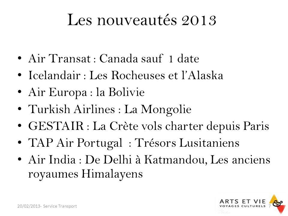 Actualités commerciales Des cies fusionnent, se rapprochent… – AF est privatisée en 2003 et achète KLM lannée suivante – DL / NW = DELTA en 2008 – IB / BA = FUSION fin 2010 – UA / CO = FUSION début 2012 – Lan Chile achète TAM = LATAM (2012) – AA / US = FUSION 14/02/13 Dautres disparaissent, se protègent de la faillite… – Lespagnole SPANAIR, la hongroise MALEV, AA sétait réfugiée sous le Chapter 11 20/02/2013- Service Transport8