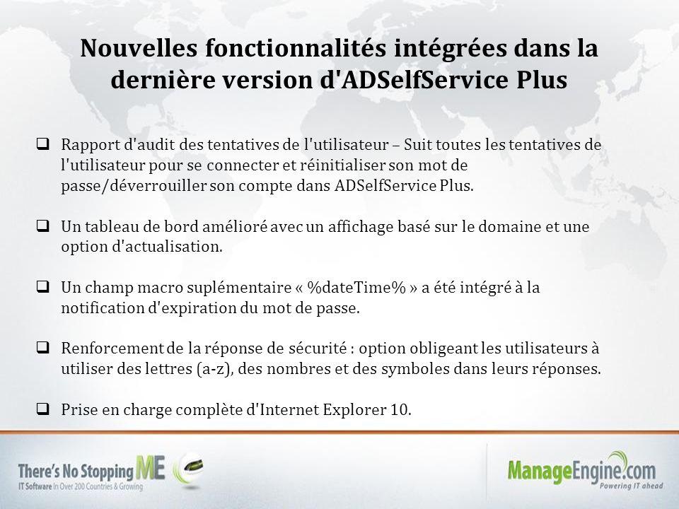 Nouvelles fonctionnalités intégrées dans la dernière version d ADSelfService Plus Rapport d audit des tentatives de l utilisateur – Suit toutes les tentatives de l utilisateur pour se connecter et réinitialiser son mot de passe/déverrouiller son compte dans ADSelfService Plus.