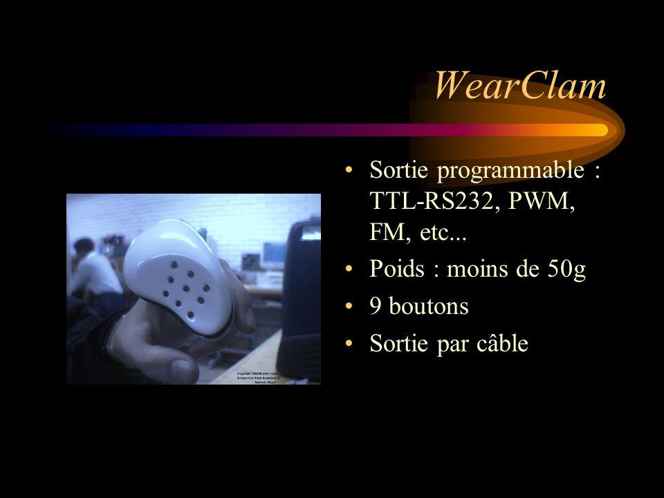 WearClam Sortie programmable : TTL-RS232, PWM, FM, etc... Poids : moins de 50g 9 boutons Sortie par câble