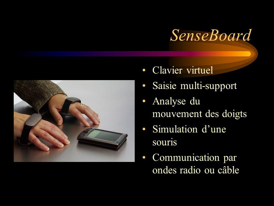 SenseBoard Clavier virtuel Saisie multi-support Analyse du mouvement des doigts Simulation dune souris Communication par ondes radio ou câble