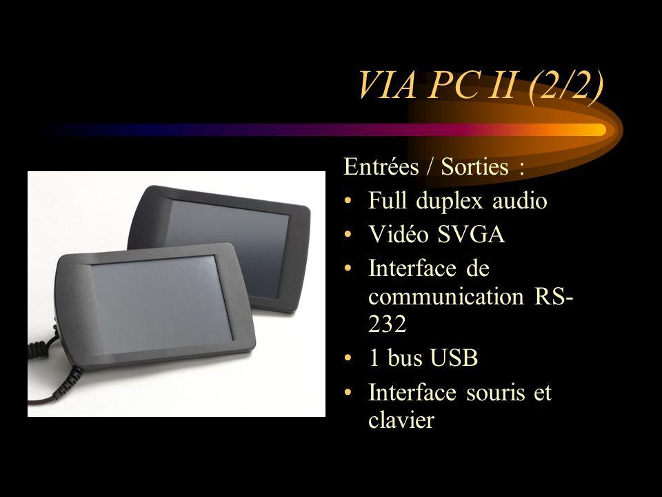 VIA PC II (2/2) Entrées / Sorties : Full duplex audio Vidéo SVGA Interface de communication RS- 232 1 bus USB Interface souris et clavier