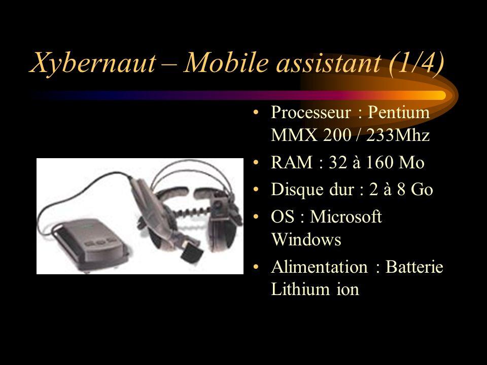 Xybernaut – Mobile assistant (1/4) Processeur : Pentium MMX 200 / 233Mhz RAM : 32 à 160 Mo Disque dur : 2 à 8 Go OS : Microsoft Windows Alimentation :