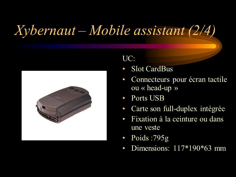 Xybernaut – Mobile assistant (2/4) UC: Slot CardBus Connecteurs pour écran tactile ou « head-up » Ports USB Carte son full-duplex intégrée Fixation à la ceinture ou dans une veste Poids :795g Dimensions: 117*190*63 mm