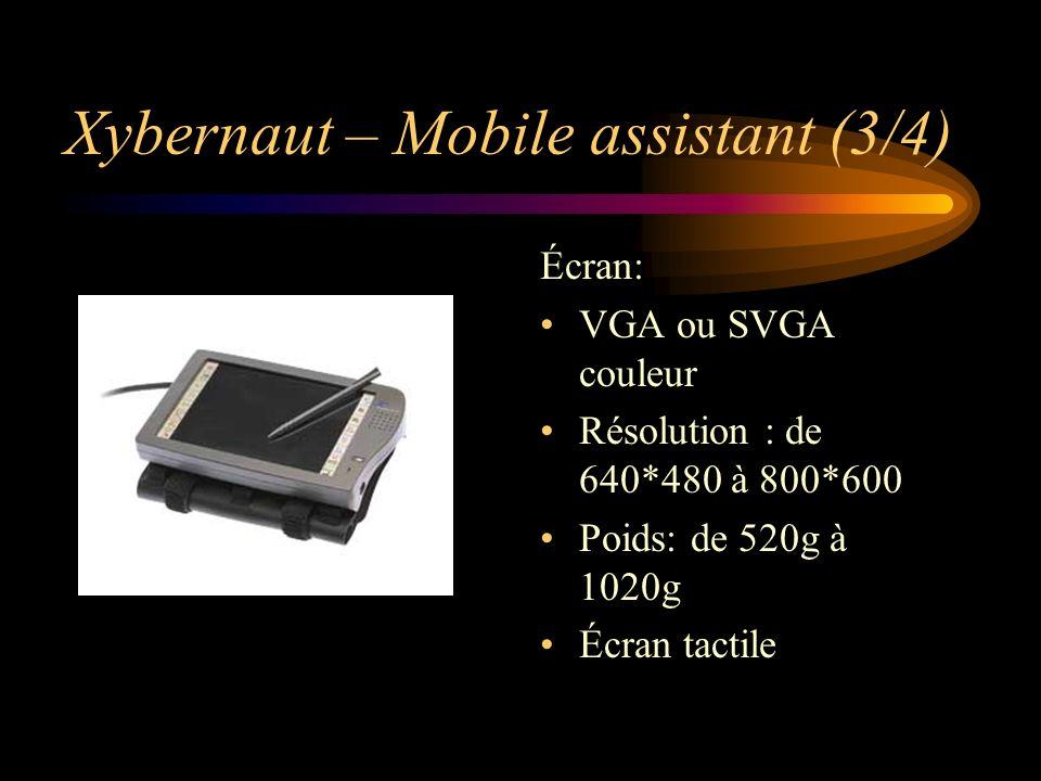 Xybernaut – Mobile assistant (3/4) Écran: VGA ou SVGA couleur Résolution : de 640*480 à 800*600 Poids: de 520g à 1020g Écran tactile