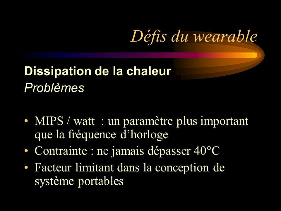 Défis du wearable Dissipation de la chaleur Problèmes MIPS / watt : un paramètre plus important que la fréquence dhorloge Contrainte : ne jamais dépasser 40°C Facteur limitant dans la conception de système portables