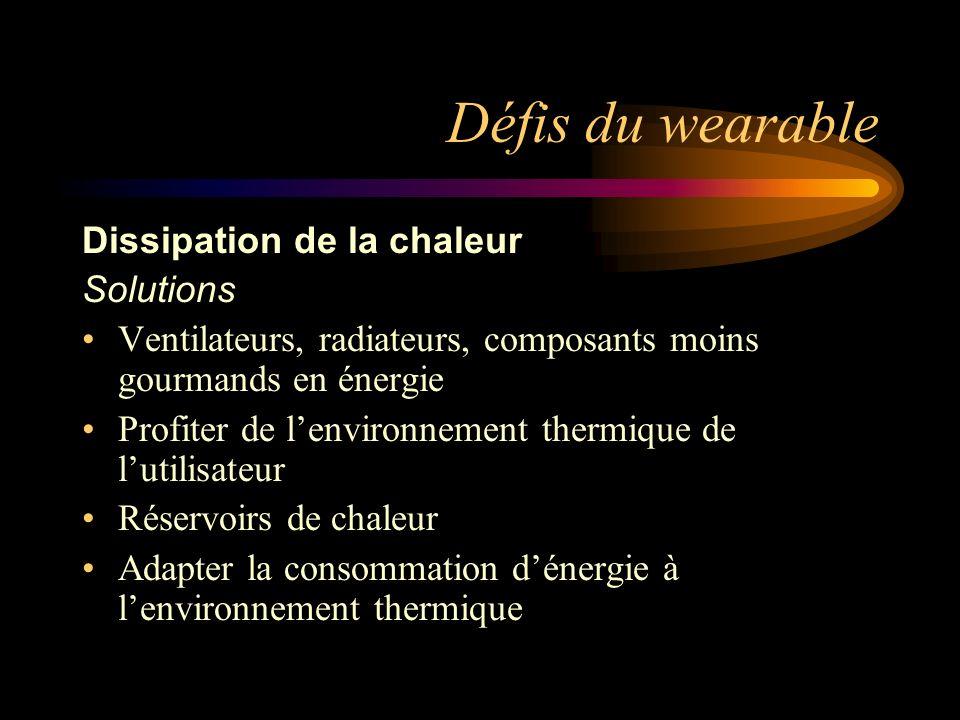Défis du wearable Dissipation de la chaleur Solutions Ventilateurs, radiateurs, composants moins gourmands en énergie Profiter de lenvironnement therm