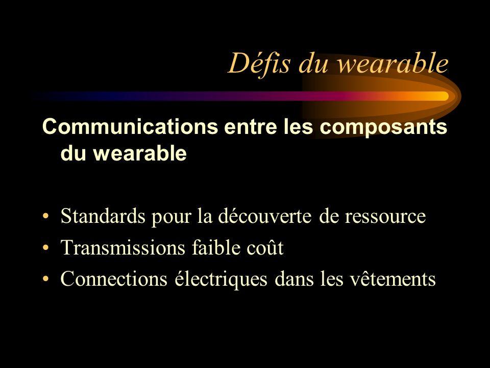 Défis du wearable Communications entre les composants du wearable Standards pour la découverte de ressource Transmissions faible coût Connections électriques dans les vêtements