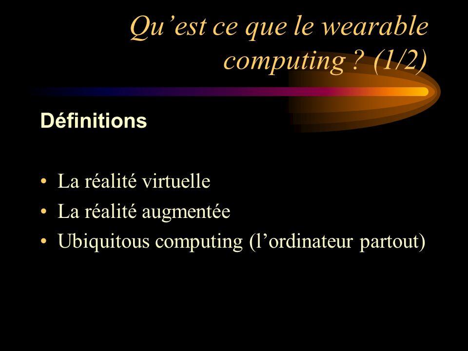 Quest ce que le wearable computing ? (1/2) Définitions La réalité virtuelle La réalité augmentée Ubiquitous computing (lordinateur partout)