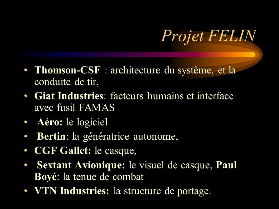 Projet FELIN Thomson-CSF : architecture du système, et la conduite de tir, Giat Industries: facteurs humains et interface avec fusil FAMAS Aéro: le lo