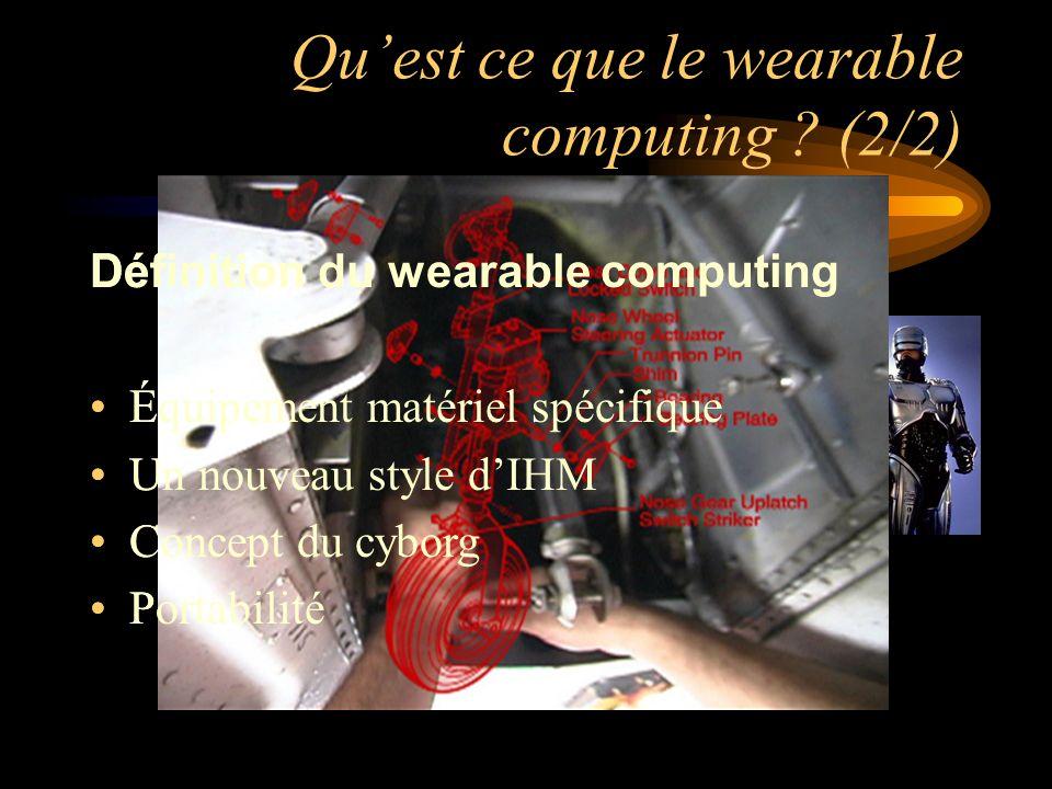 Quest ce que le wearable computing ? (2/2) Définition du wearable computing Équipement matériel spécifique Un nouveau style dIHM Concept du cyborg Por