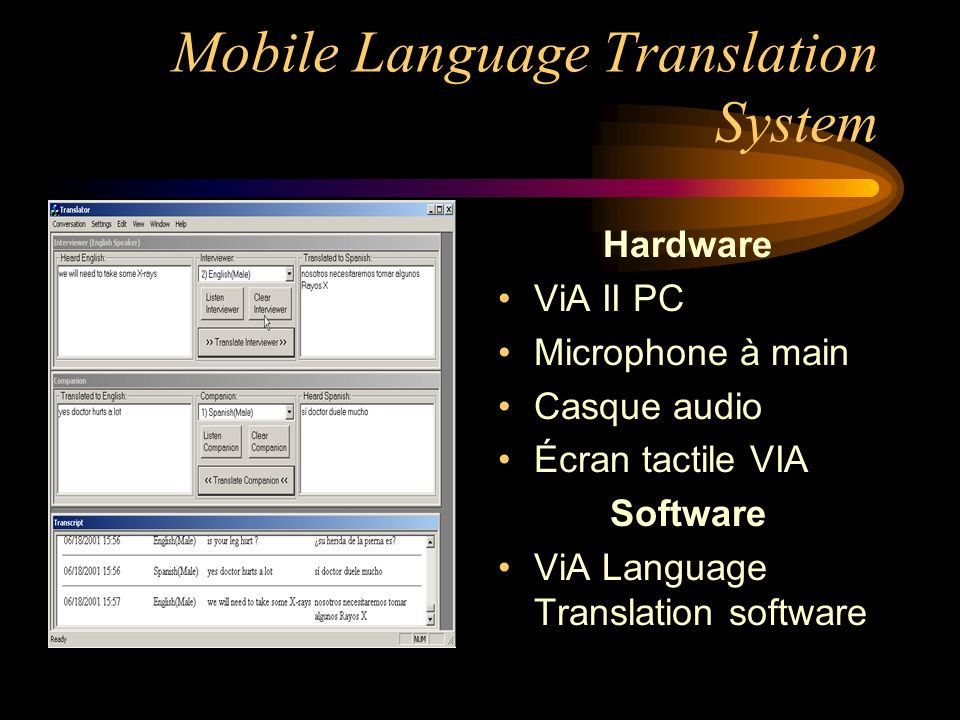 Mobile Language Translation System Hardware ViA II PC Microphone à main Casque audio Écran tactile VIA Software ViA Language Translation software