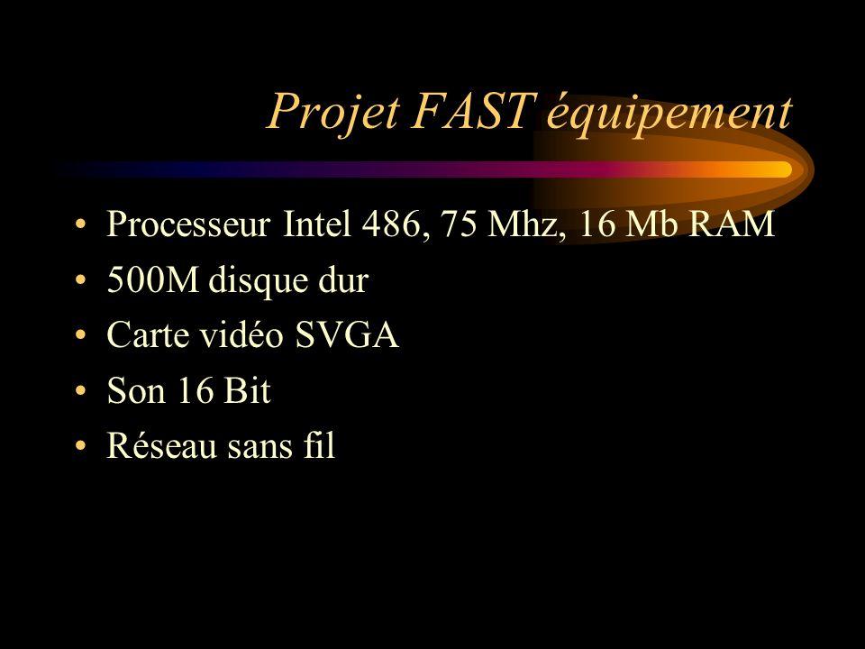 Projet FAST équipement Processeur Intel 486, 75 Mhz, 16 Mb RAM 500M disque dur Carte vidéo SVGA Son 16 Bit Réseau sans fil