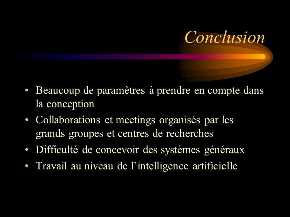 Conclusion Beaucoup de paramètres à prendre en compte dans la conception Collaborations et meetings organisés par les grands groupes et centres de recherches Difficulté de concevoir des systèmes généraux Travail au niveau de lintelligence artificielle