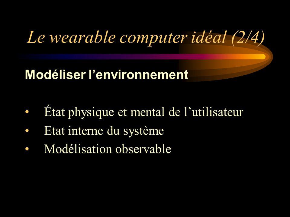 Le wearable computer idéal (2/4) Modéliser lenvironnement État physique et mental de lutilisateur Etat interne du système Modélisation observable