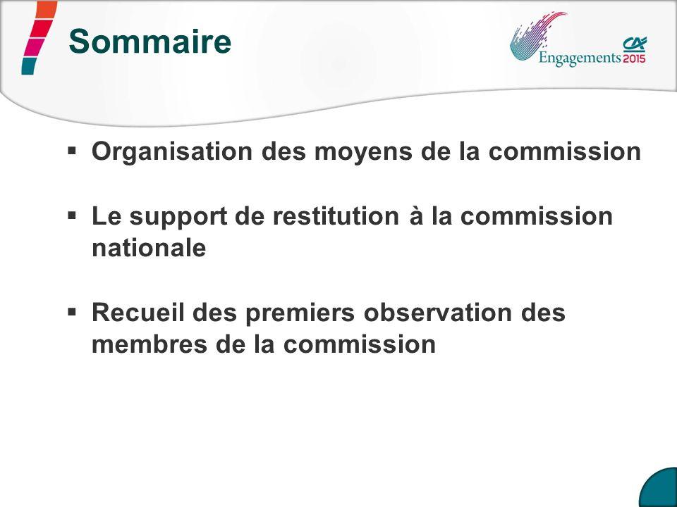 Sommaire Organisation des moyens de la commission Le support de restitution à la commission nationale Recueil des premiers observation des membres de la commission