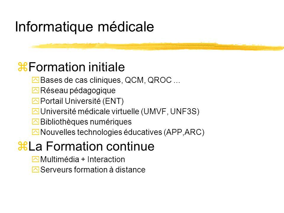 Informatique médicale zFormation initiale yBases de cas cliniques, QCM, QROC... yRéseau pédagogique yPortail Université (ENT) yUniversité médicale vir