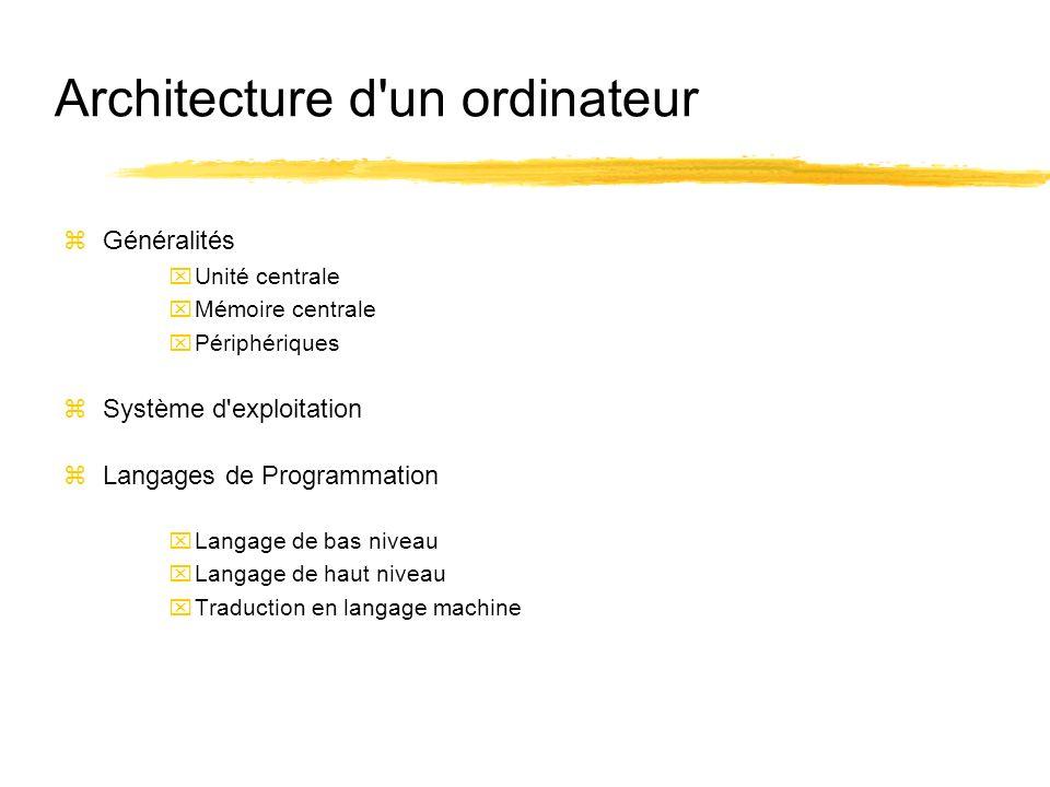 Architecture d'un ordinateur zGénéralités xUnité centrale xMémoire centrale xPériphériques zSystème d'exploitation zLangages de Programmation xLangage