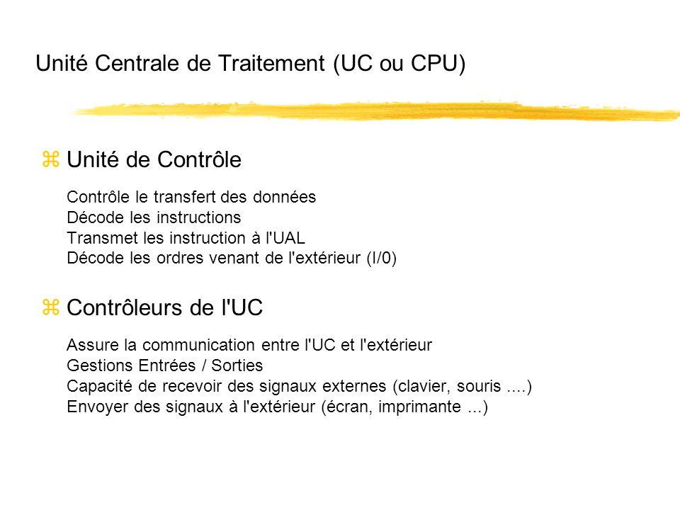 Unité Centrale de Traitement (UC ou CPU) zUnité de Contrôle Contrôle le transfert des données Décode les instructions Transmet les instruction à l'UAL