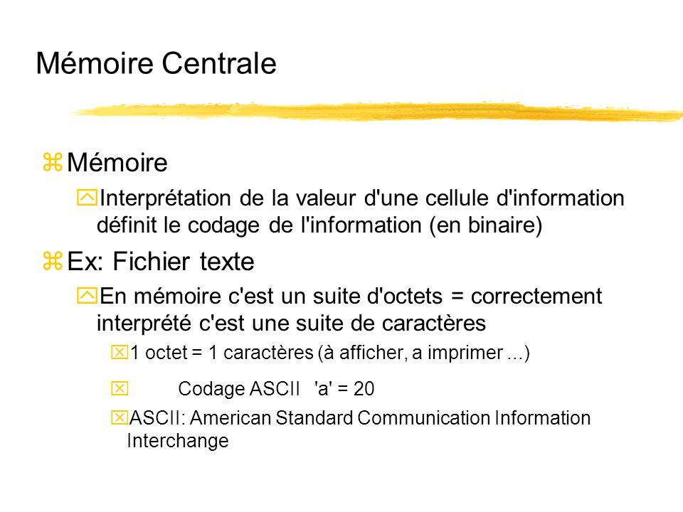 Mémoire Centrale zMémoire yInterprétation de la valeur d'une cellule d'information définit le codage de l'information (en binaire) zEx: Fichier texte