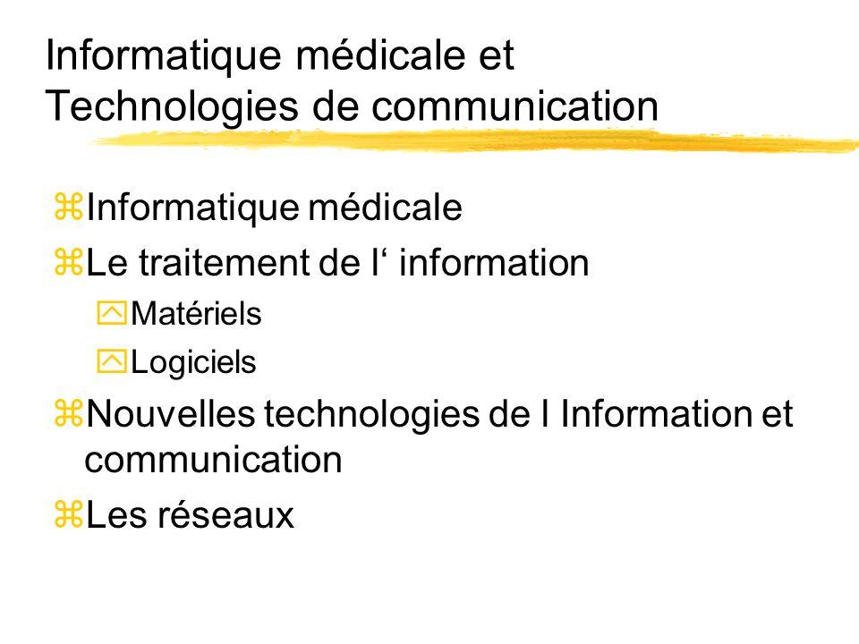 Informatique médicale et Technologies de communication zInformatique médicale zLe traitement de l information yMatériels yLogiciels zNouvelles technol