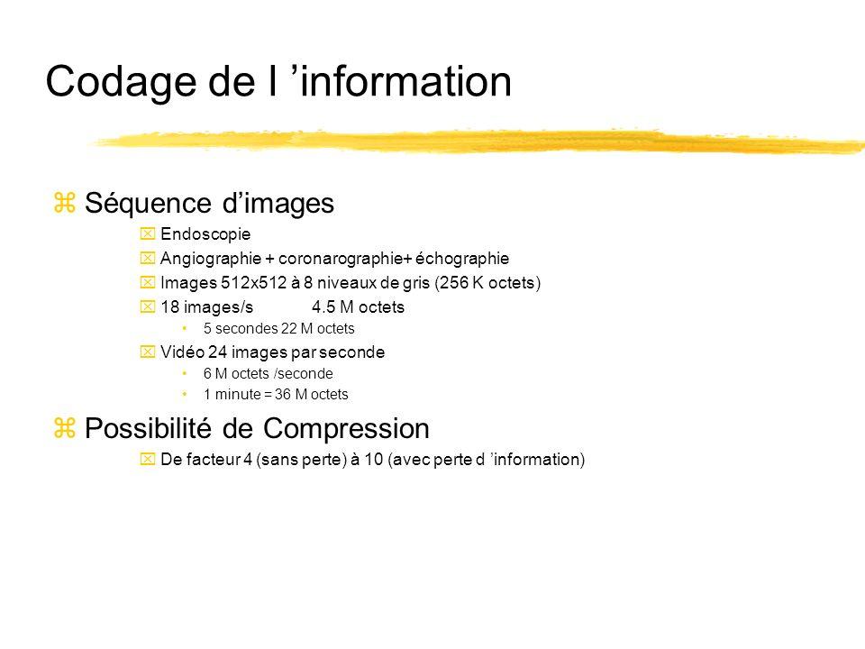 Codage de l information zSéquence dimages xEndoscopie xAngiographie + coronarographie+ échographie xImages 512x512 à 8 niveaux de gris (256 K octets)