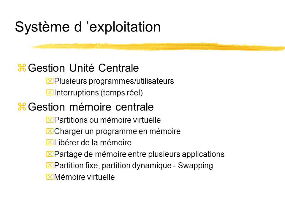 Système d exploitation zGestion Unité Centrale xPlusieurs programmes/utilisateurs xInterruptions (temps réel) zGestion mémoire centrale xPartitions ou