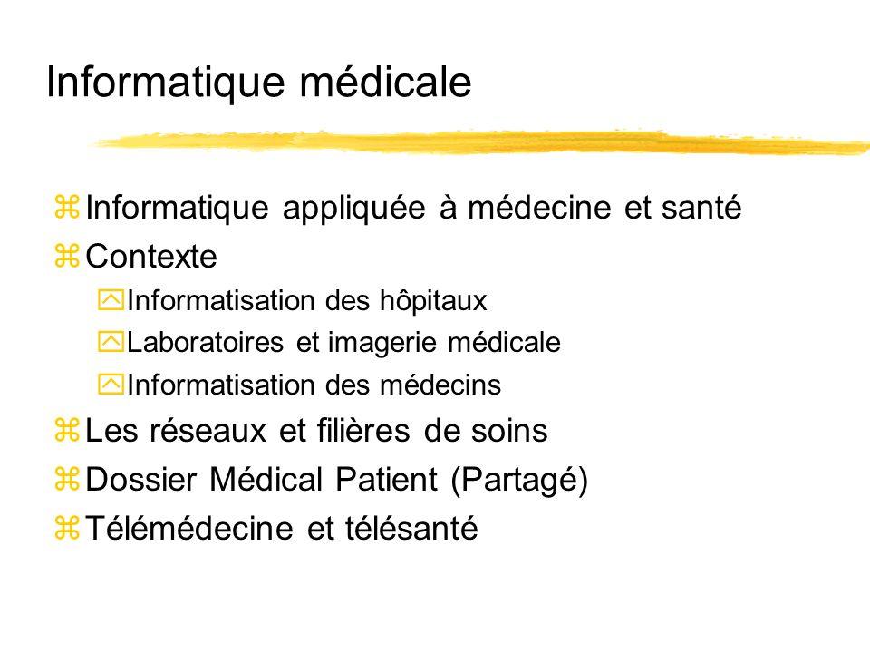 Informatique médicale zInformatique appliquée à médecine et santé zContexte yInformatisation des hôpitaux yLaboratoires et imagerie médicale yInformat