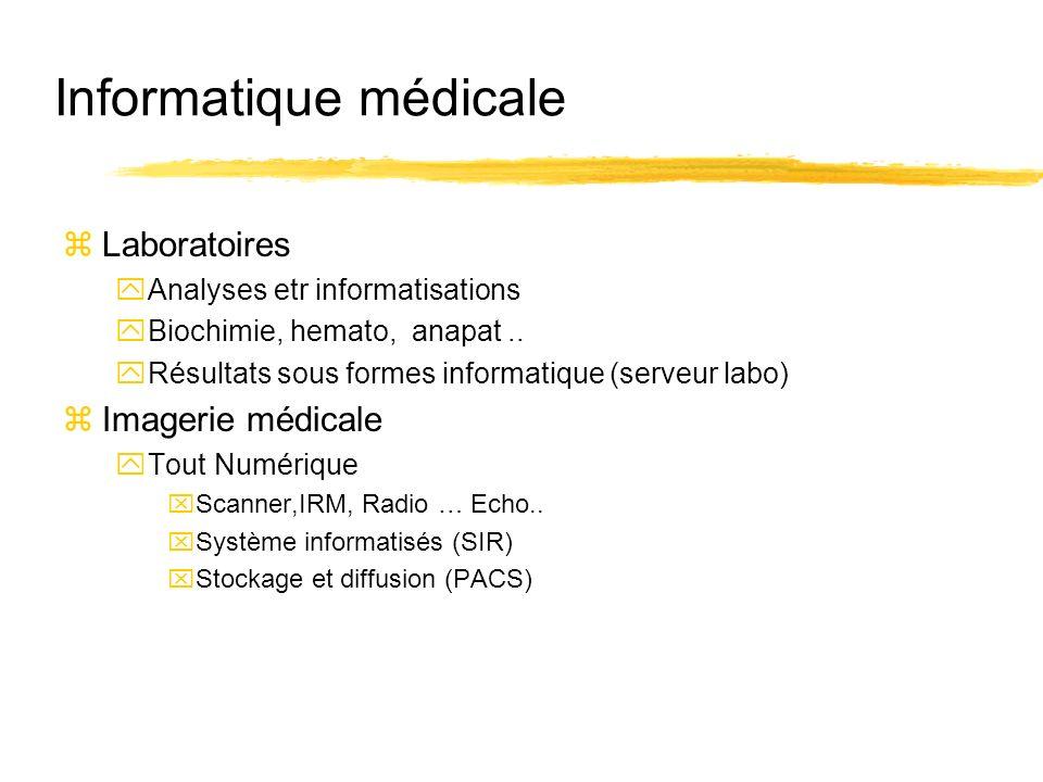 Informatique médicale zLaboratoires yAnalyses etr informatisations yBiochimie, hemato, anapat.. yRésultats sous formes informatique (serveur labo) zIm