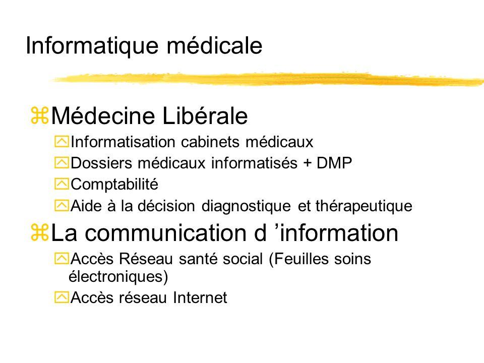 Informatique médicale zMédecine Libérale yInformatisation cabinets médicaux yDossiers médicaux informatisés + DMP yComptabilité yAide à la décision di