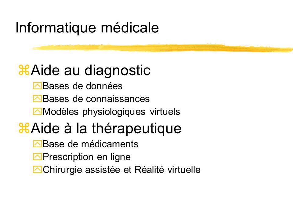 Informatique médicale zAide au diagnostic yBases de données yBases de connaissances yModèles physiologiques virtuels zAide à la thérapeutique yBase de