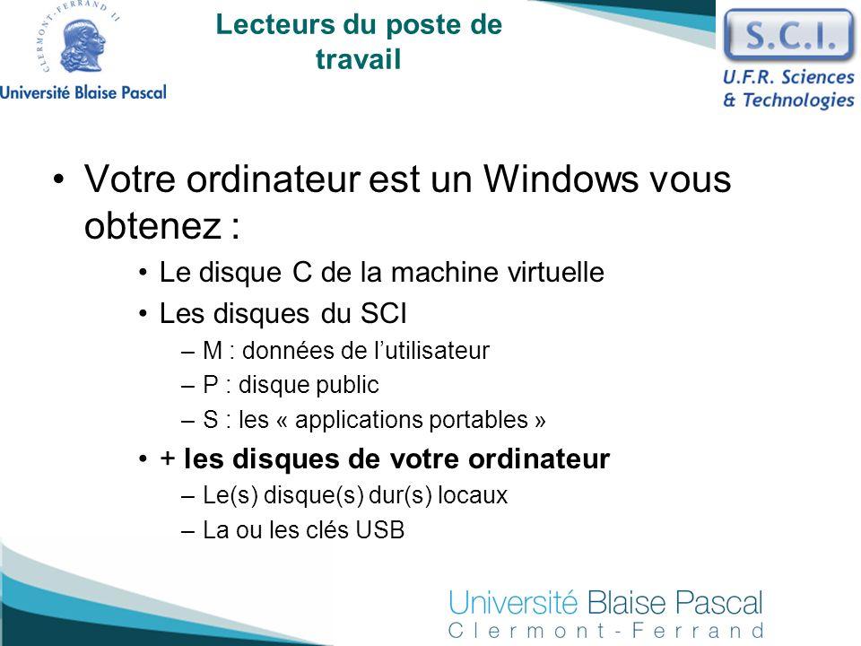 Votre ordinateur est un Windows vous obtenez : Le disque C de la machine virtuelle Les disques du SCI –M : données de lutilisateur –P : disque public