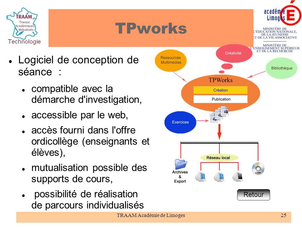 TRAAM Académie de Limoges25 TPworks Logiciel de conception de séance : compatible avec la démarche d'investigation, accessible par le web, accès fourn