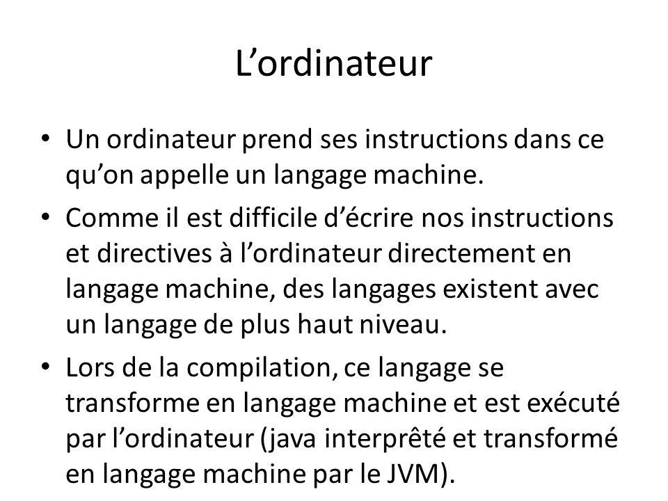 Lordinateur Un ordinateur prend ses instructions dans ce quon appelle un langage machine. Comme il est difficile décrire nos instructions et directive