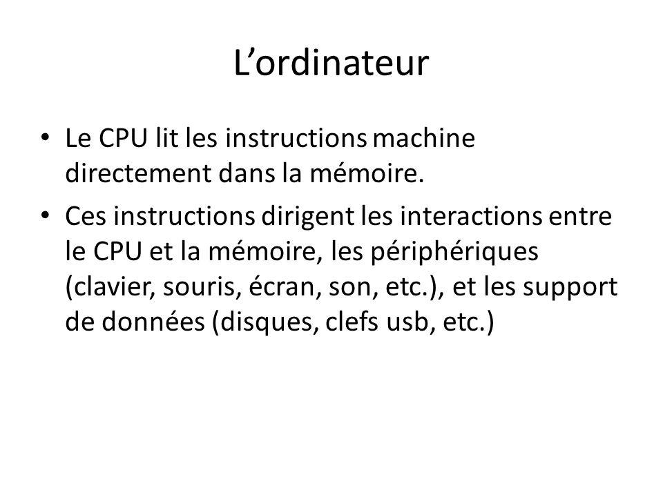 Lordinateur Le CPU lit les instructions machine directement dans la mémoire. Ces instructions dirigent les interactions entre le CPU et la mémoire, le