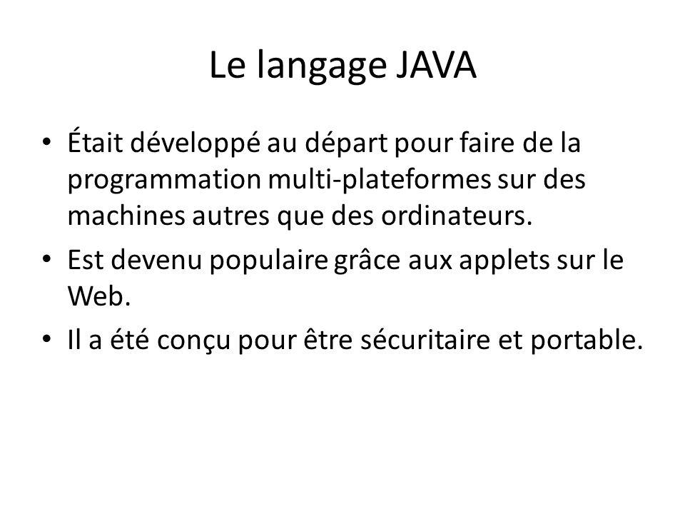 Le langage JAVA Était développé au départ pour faire de la programmation multi-plateformes sur des machines autres que des ordinateurs. Est devenu pop