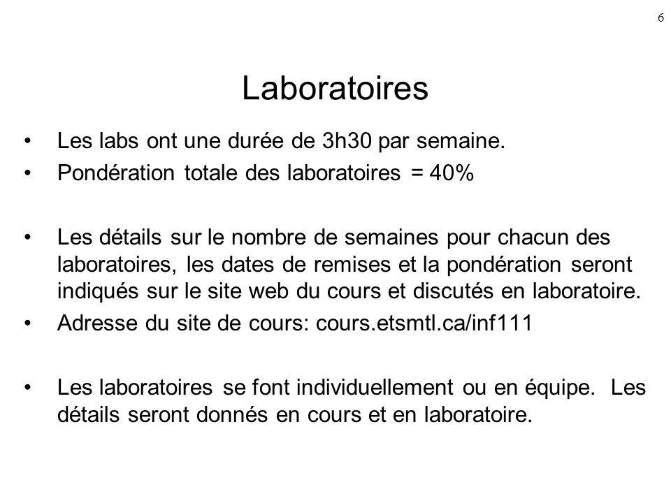6 Laboratoires Les labs ont une durée de 3h30 par semaine. Pondération totale des laboratoires = 40% Les détails sur le nombre de semaines pour chacun