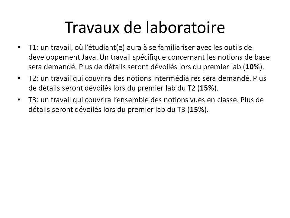 Travaux de laboratoire T1: un travail, où létudiant(e) aura à se familiariser avec les outils de développement Java. Un travail spécifique concernant