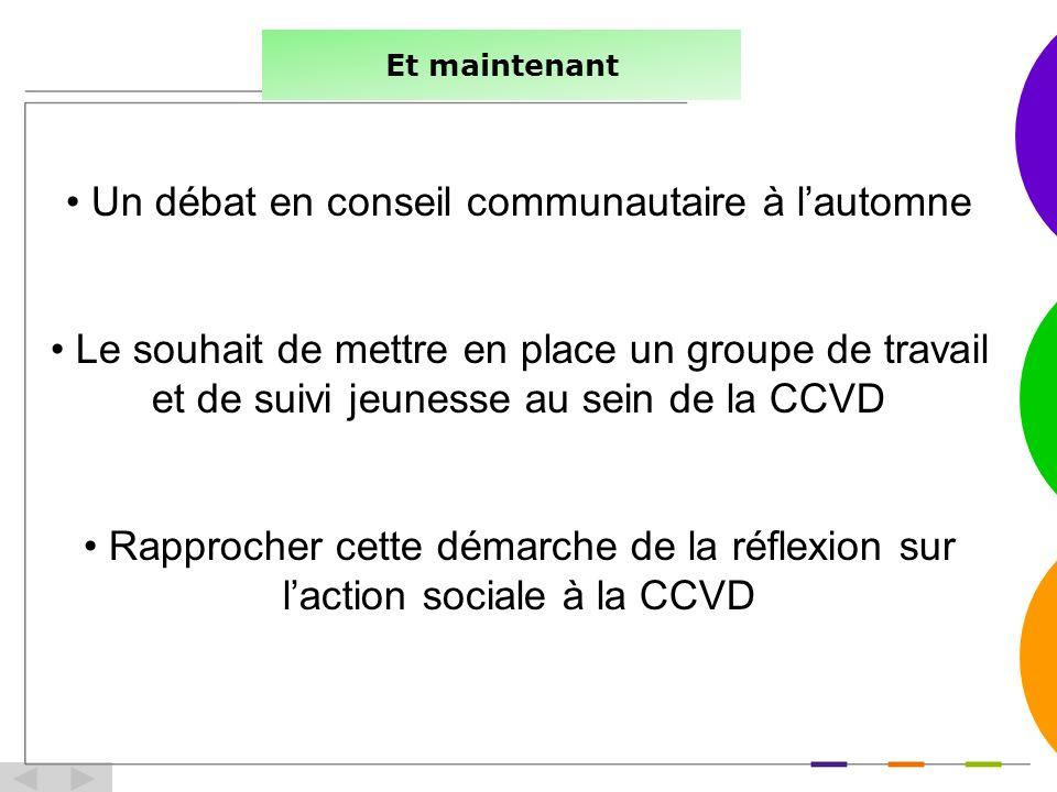 Et maintenant Un débat en conseil communautaire à lautomne Le souhait de mettre en place un groupe de travail et de suivi jeunesse au sein de la CCVD Rapprocher cette démarche de la réflexion sur laction sociale à la CCVD