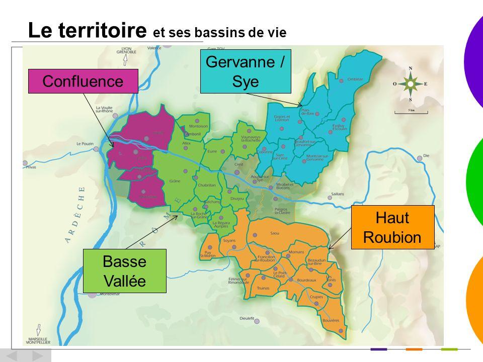 Le territoire et ses bassins de vie Gervanne / Sye Haut Roubion Basse Vallée Confluence