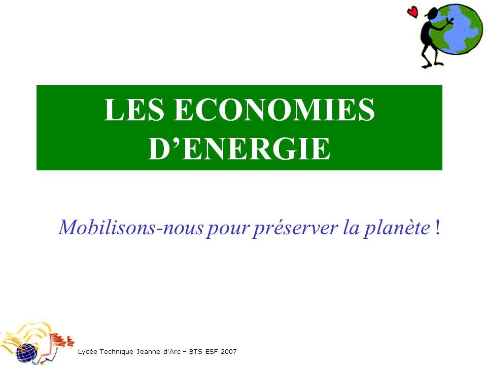 LES ECONOMIES DENERGIE Lycée Technique Jeanne d'Arc – BTS ESF 2007 Mobilisons-nous pour préserver la planète !