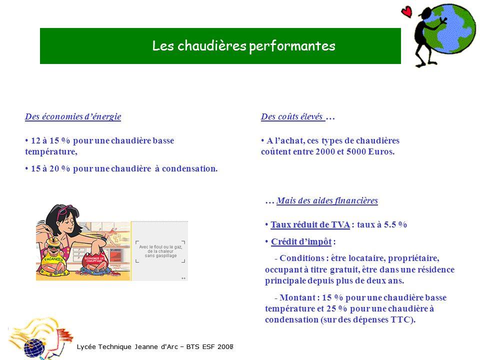 Les chaudières performantes Lycée Technique Jeanne d'Arc – BTS ESF 2006 Les chaudières performantes Lycée Technique Jeanne d'Arc – BTS ESF 2007 Des éc