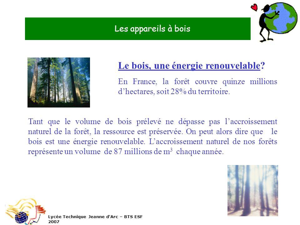 Les appareils à bois Lycée Technique Jeanne d'Arc – BTS ESF 2007 Le bois, une énergie renouvelable? En France, la forêt couvre quinze millions dhectar