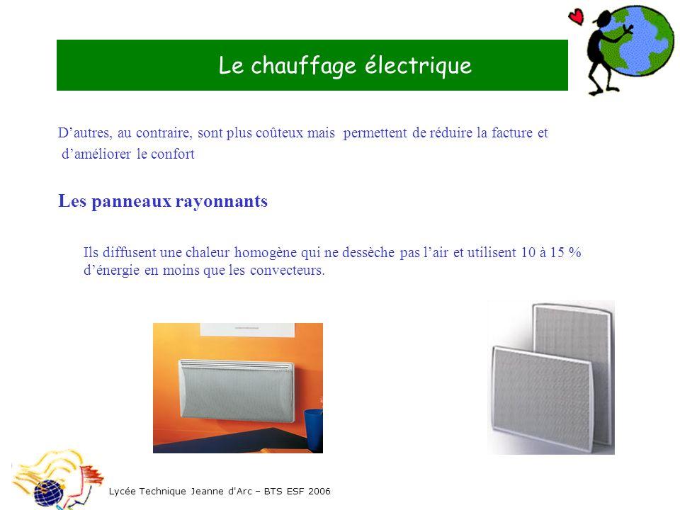 Le chauffage électrique Lycée Technique Jeanne d'Arc – BTS ESF 2006 Dautres, au contraire, sont plus coûteux mais permettent de réduire la facture et
