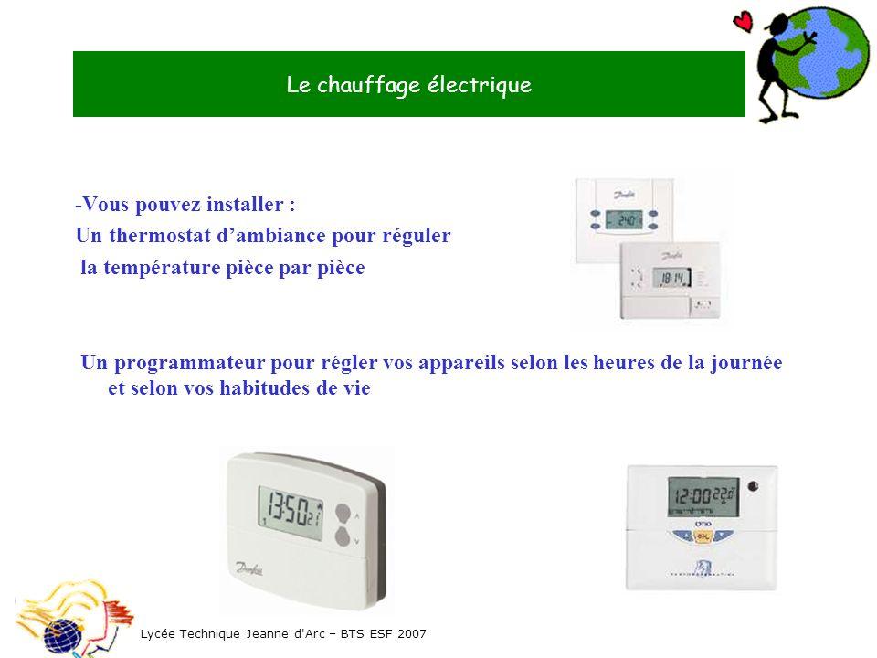 -Vous pouvez installer : Un thermostat dambiance pour réguler la température pièce par pièce Un programmateur pour régler vos appareils selon les heur