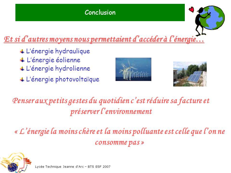 Conclusion Lycée Technique Jeanne d'Arc – BTS ESF 2007 Et si dautres moyens nous permettaient daccéder à lénergie… Lénergie hydraulique Lénergie éolie