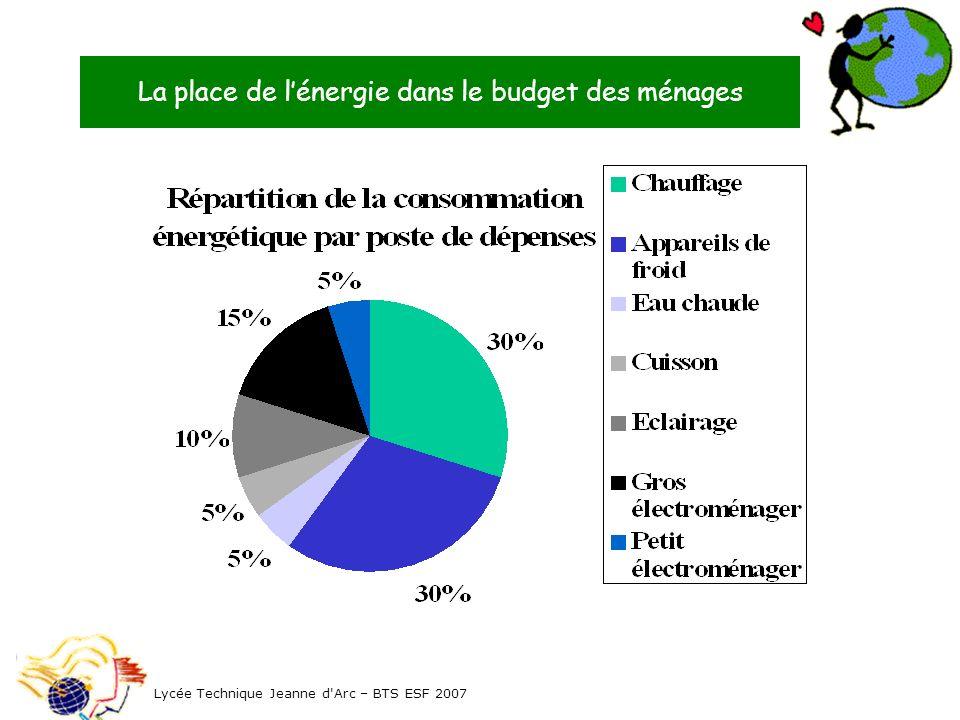 La place de lénergie dans le budget des ménages Lycée Technique Jeanne d'Arc – BTS ESF 2007
